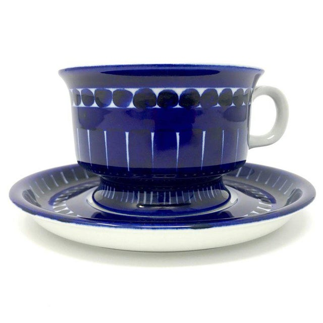 Arabia 1960s Scandinavian Modern Ulla Procope for Arabia of Finland Valencia Cup and Saucer - 2 Pieces For Sale - Image 4 of 13
