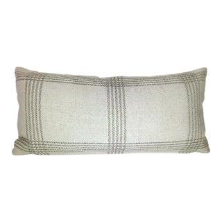 Custom Linen Woven Plaid Kidney Pillow For Sale