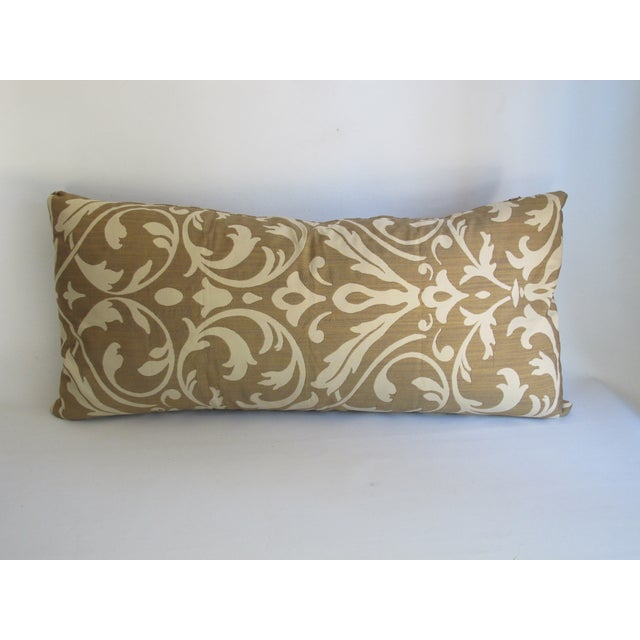 Gold Damask Bolster Pillow - Image 4 of 5