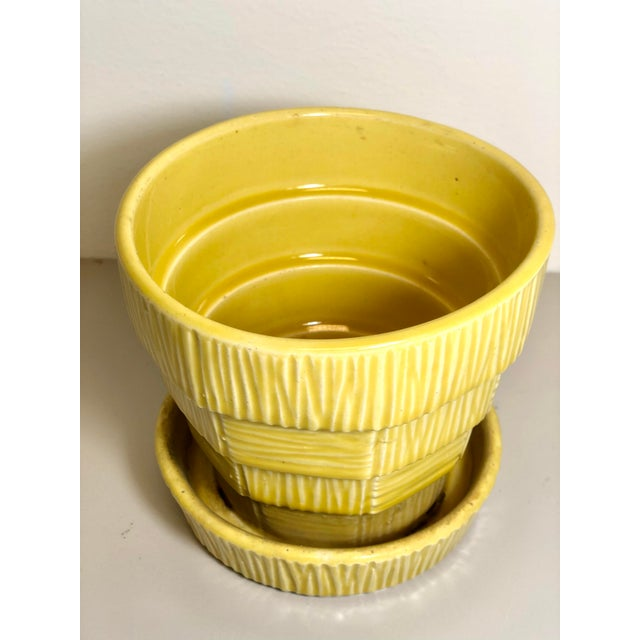 """McCoy Pottery 1940s - 1960s """"Yellow"""" Mid Century Flowerpot And Attached Saucer Bark Basket Weave Design, Medium, Yellow..."""
