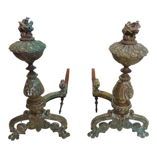 Antique Bronze Andirons - A Pair