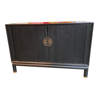 Chinoiserie Tambour Storage Cabinet For Sale