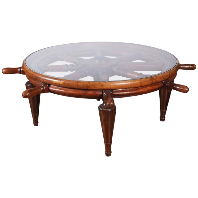 Antique Ship's Wheel Coffee Table For Sale