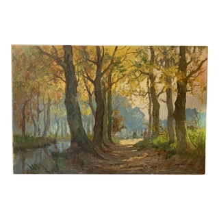 Vintage Mid-Century Forest Landscape Original Oil Painting Signed by French Listed Artist Gernon For Sale