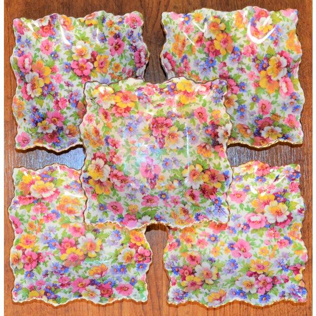 Vintage James Kent DuBarry Square Floral Chinitz Plates - Set of 5 For Sale - Image 4 of 11