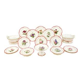 19th C Hand Painted Botanical Rihouet Paris Porcelain Pink Dessert Service 17 Pcs For Sale