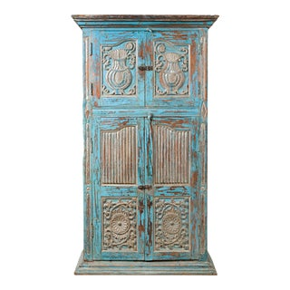 Antique Indian Distressed Wooden Cabinet with Hand Rubbed Blue Patina For Sale