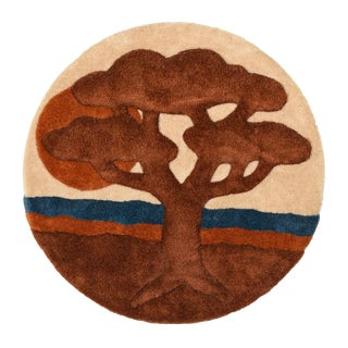 Tree of Life 1970's Retro Carpet Textile Fiber Wall Art Medallion For Sale