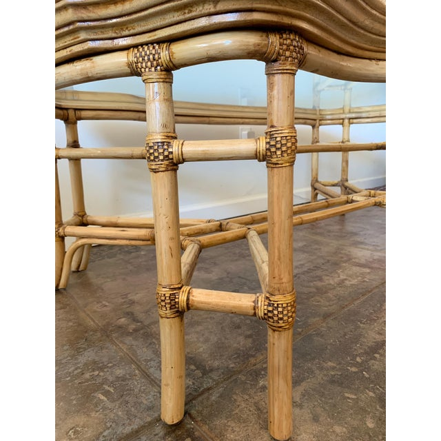 Vintage Boho Chic Bamboo and Wood Coffee Table For Sale - Image 4 of 7