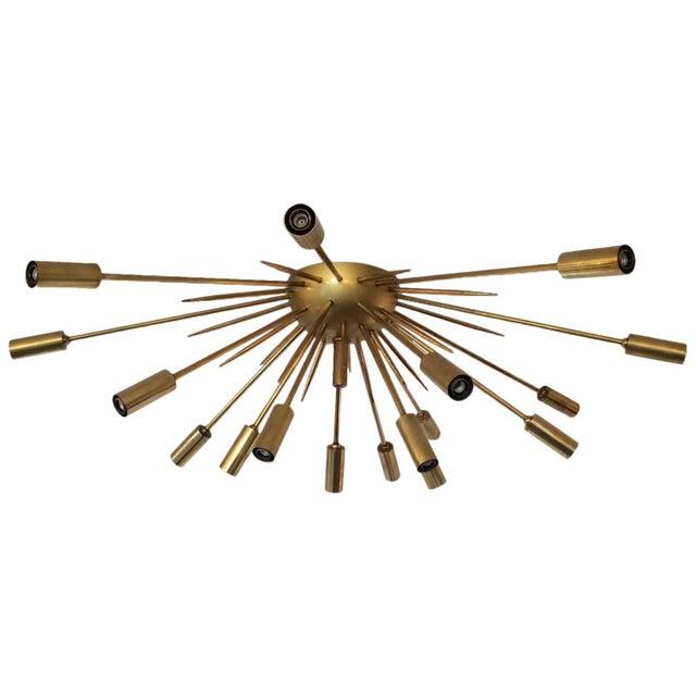 Mid 20th Century Brass Flush Mount Sputnik by Stilnovo For Sale - Image 5 of 5