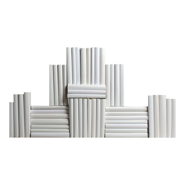 The Modern White Wrapped Book Wall - Set of 50 For Sale
