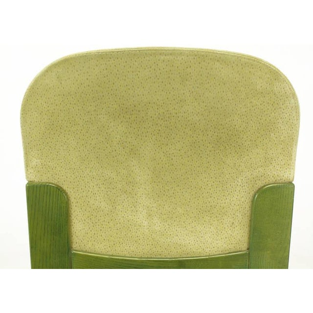 Tan Four Ernesto Radaelli for Saporiti Dining Chairs in Dyed Green Oak and Suede For Sale - Image 8 of 9