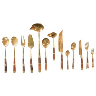 Italy 1950s Brass and Wood Tableware For Sale