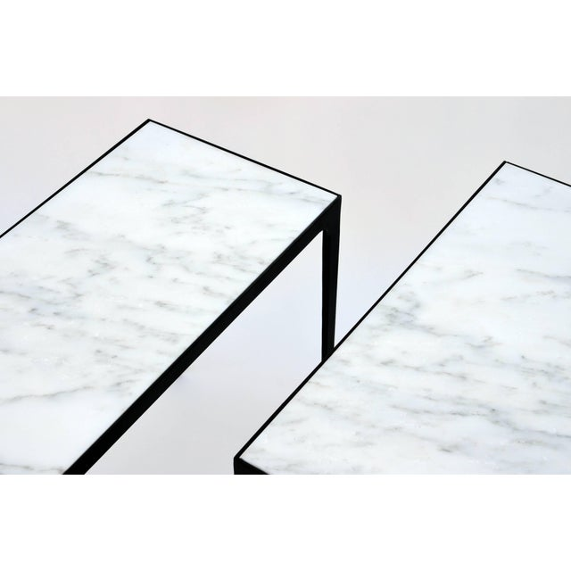 """Modern Contemporary Design Frères """"Esquisse"""" Wrought Iron and Marble Side Tables - a Pair For Sale - Image 3 of 5"""