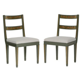 Pair of Carl Malmsten Painted and Parcel-Gilt Side Chairs