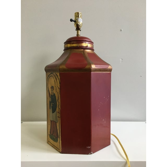 Vintage Tole Octogan Hand Painted Lamp - Image 5 of 11