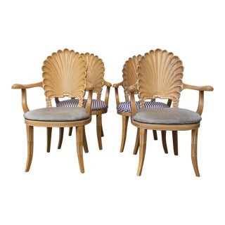 Vintage Shell Back Grotto Arm Chairs - Set of 4 For Sale