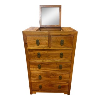 British Officers Campaign Camphor Wood Chest Dresser Vanity With Hidden Mirror For Sale