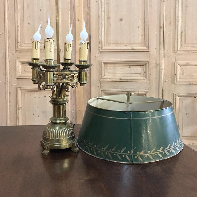 Metal Antique French Art Deco Period Bronze Bouillote Lamp With Shade For Sale - Image 7 of 11