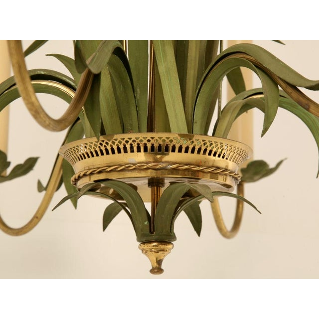 Vintage Continental 6-Light Metal Cattail Chandelier For Sale - Image 10 of 11
