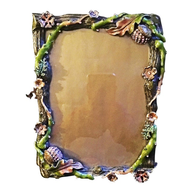 Rare Acorns and Flowers Jay Strongwater Frame | Chairish