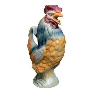 French Majolica St. Clement Rooster Pitcher