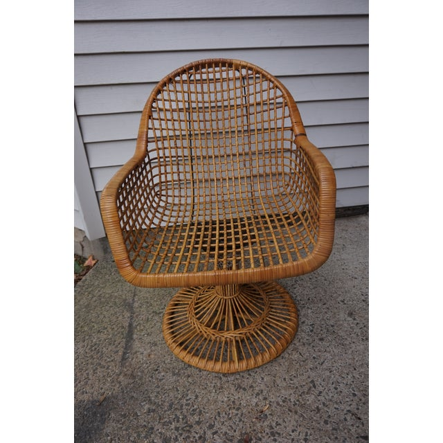 Franco Albini Era Bamboo Swivel Chair For Sale - Image 10 of 11