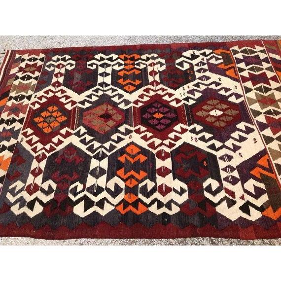 Vintage Turkish Kilim Rug For Sale - Image 4 of 6