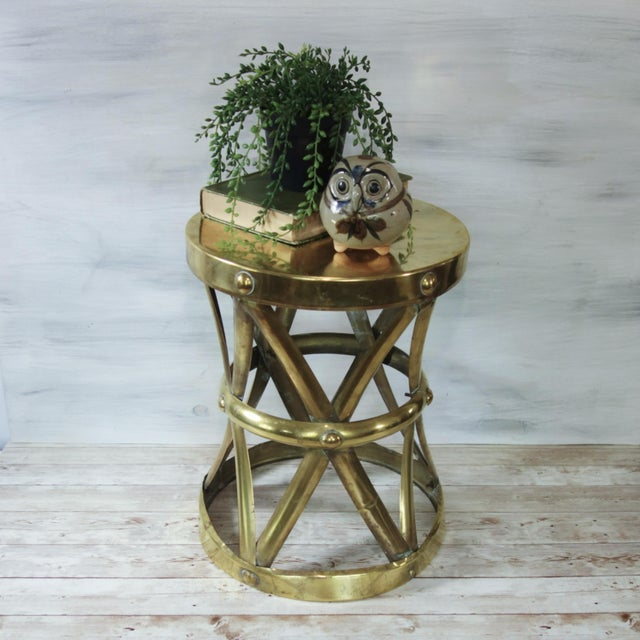 Sarreid Ltd. 1970's Vintage Brass X Base Garden Stool For Sale - Image 4 of 8