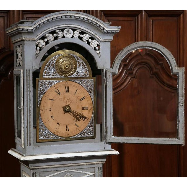 Late 18th Century French Carved Painted Grandfather Clock - Image 7 of 9