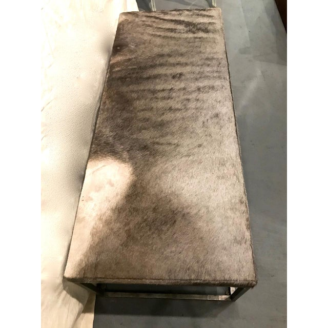 Late 20th Century Late 20th Century Vintage Forged Iron and Hide Bench For Sale - Image 5 of 7