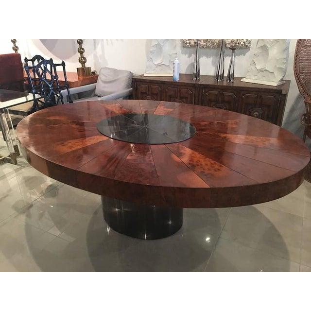 Burlwood Paul Evans Burlwood Dining Table Brushed Metal For Sale - Image 7 of 12