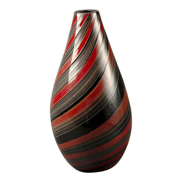 Large Murano Glass Red and Black Striped Vase For Sale