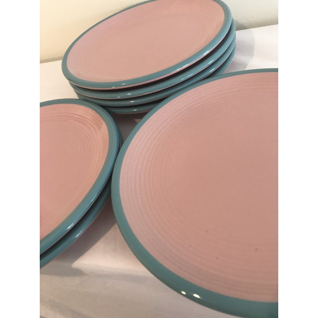 Mid-Century Modern Century Stoneware Rio Pink & Turquoise Salad Plate - Set of 6 For Sale - Image 3 of 6