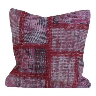Vintage Over Dyed Patchwork Distressed Pink Hand-Knotted Rug Pillow For Sale