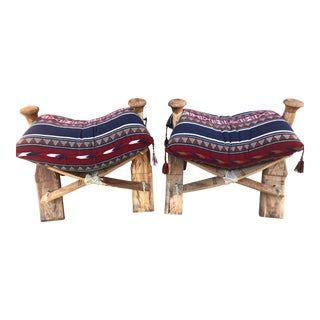 Modern Wooden Camel Saddle Benches- A Pair For Sale