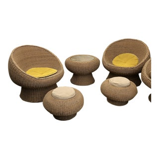 1960's Eero Aarnio 10 Pc Wicker Set For Sale