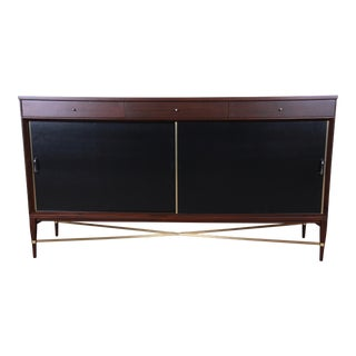 Paul McCobb Calvin Group Mahogany and Brass Credenza For Sale