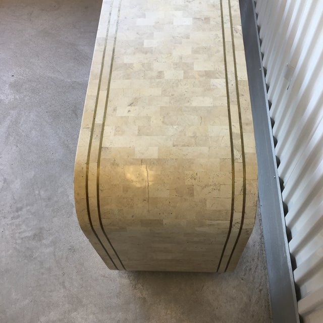 Mid-Century Modern Maitland Smith Tessellated Stone and Brass Inlay Waterfall Console Table For Sale - Image 3 of 8