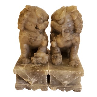 20th Century Handmade Marble Chinese Foo Dogs - a Pair For Sale