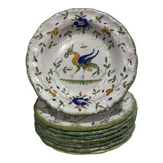 Martres-Tolosane Moustier Floral Faience Soup Bowls, S/8 For Sale