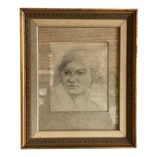 Vintage Woman Portrait Drawing For Sale