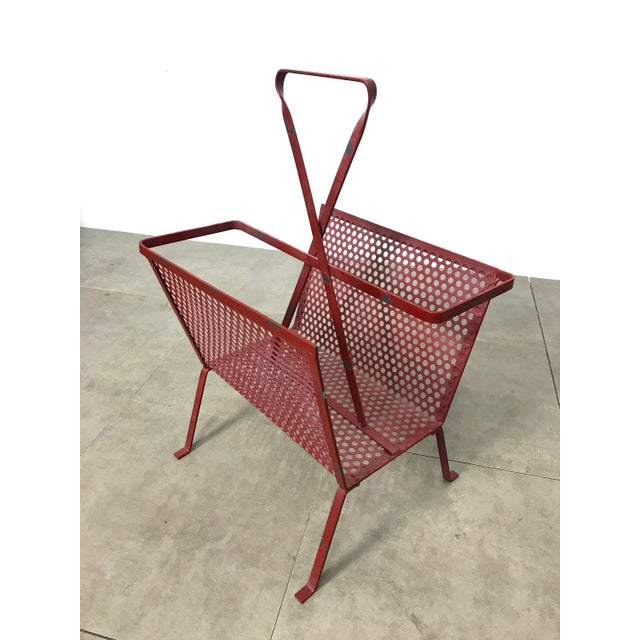 Metal 1950's Mathieu Mategot Attributed Red Metal Magazine Holder For Sale - Image 7 of 12