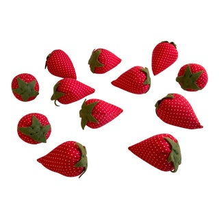 Vintage Hand Sewn Strawberries - Set of 12 For Sale