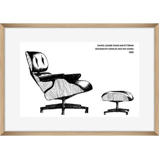 """Original Framed """"Eames Lounge Chair Drawing"""""""
