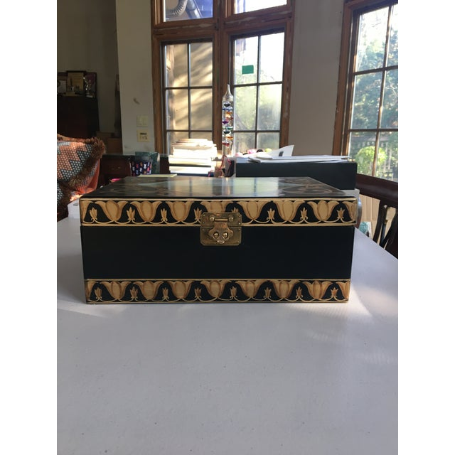 This is an antique hand painted box looking for a new home. Can be used for storage, displayed or decor. Gold painted...