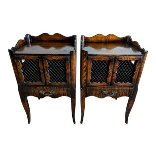 1900s French Louis XV Walnut Nightstands - a Pair