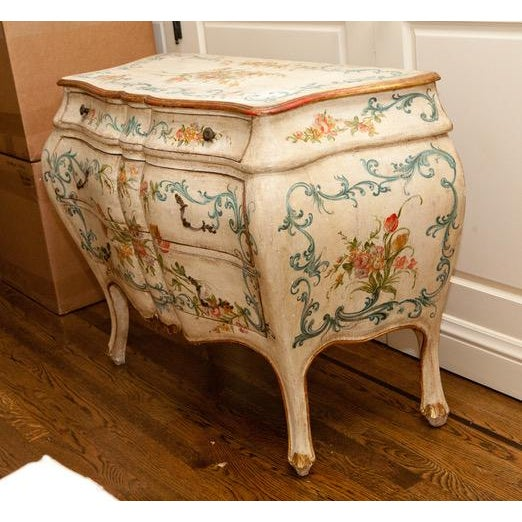 French 1990s French Shabby Chic Hand Painted Commode For Sale - Image 3 of 6