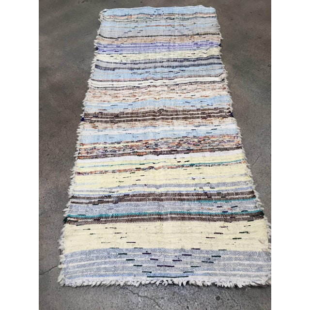 Mid Century Moroccan Beni Ouarain Tribal Rug - 2′8″ × 6′3″ For Sale In Los Angeles - Image 6 of 8