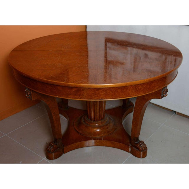 HighEnd French Empire Revival Burled Walnut And Walnut Extension - Burled walnut dining table